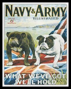 NAVY & ARMY BRITISH BULLDOG UNION JACK FLAG ENGLAND METAL PLAQUE TIN SIGN 996