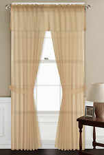 """5PC SET VOILE SHEER PANELS STRAIGHT VALANCE WINDOW CURTAIN 100% MATCH IN 84"""" L"""