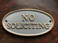 Gray Metal No Soliciting Sign, Metal No Soliciting Sign, Upscale, Classy