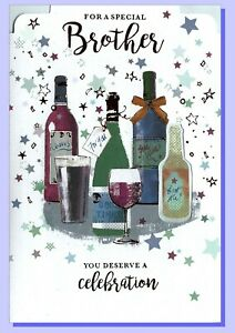 """Brother Happy Birthday Card - Beer Wine Drinking Male Mens - 7""""x5""""  SIMON ELVIN"""