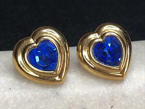 Vintage Avon Blue Rhinestone Gold Tone Heart Post Earrings