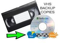 VHS TAPE BACKUP on DVD - Cartoon Network Disney Home Kids Nickelodeon Used Blank