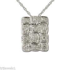 Diamond Pendant 0.10 ct tw in 10K White Gold.Included 18 Inches 10K Gold Chain