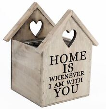 Wood House Style Tea Light Holder 'Home Is Whenever I Am With You'
