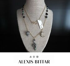 ALEXIS BITTAR Snake Panther Moon Crystal Charm Stone Necklace Gold Tone NWT $295