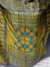 "DIANE VREELAND DV 35"" Square Rare Silk Grecian Styling Teal Gold Steel Blue Gray"
