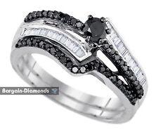Black Diamond .75 carat Bridal Engagement Ring Wedding Band Set 925 white