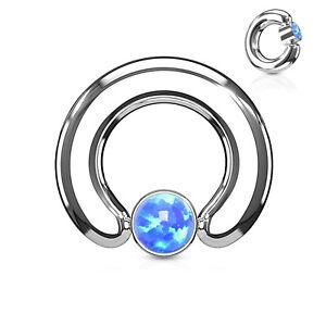 """Captive Nipple Ring Heavy 10 Gauge 1/2"""" w/Opal Blue 4mm Ball Steel Body Jewelry"""