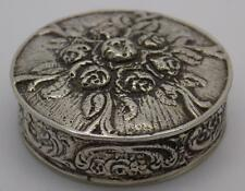 39g Vintage Solid Silver Beautiful Italian Pill / Snuff Rose Box - Stamped