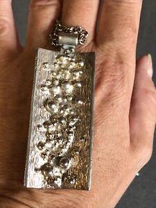 Large Vintage Silver Tone Brutalist Modernist Pendant Necklace 60sMid Century