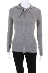 J Crew Womens Cashmere Solid Zip Up Hoodie Jacket Gray Size XXS