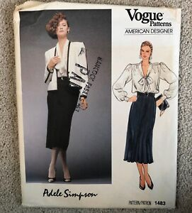Vintage 1980s ADELE SIMPSON Vogue American Designer Sewing Pattern sz 12 UNCUT