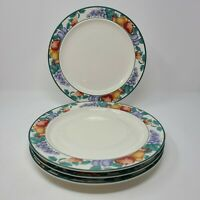 Tienshan Intro Stoneware Orchard Fruits Pattern 4 Dinner Plates Oven to Table