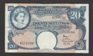 20 SHILLINGS VG-FINE BANKNOTE FROM BRITISH EAST AFRICA 1958-60 PICK-39