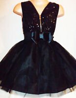 GIRLS BLACK GOTHIC SEQUIN TULLE ZIP BOW TRIM PRINCESS PROM PARTY DRESS age 9-10