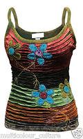 Women Cami Floral Hippie Casual Tank Tops Festival Ladies Vest Blouse T-shirt