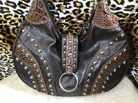 Pritzi Boho Handbag Or Shoulder Bag Purse Brown Faux Leather Gold Tone Studs