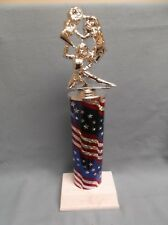 silver action Cheerleading trophy white base patriotic oval column