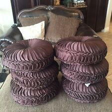 """CROSCILL TUFTED SMOCKED ROUND THROW PILLOW 15"""" PURPLE AMETHYST PRE-OWNED"""
