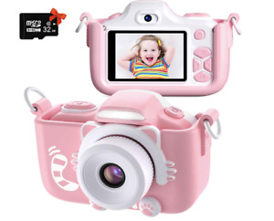 Pink Digital Camera for Children, 1080P Video Recorder with 12 Mp/2.0 In screen