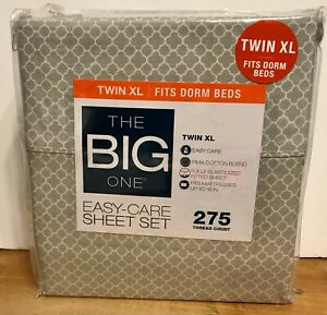 THE BIG ONE Easy-Care SHEET SET TWIN XL 275 Thread Count  Dorm Beds Gray Trellis