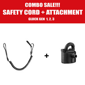 Combo Safety Cord Attachment + Pistol lanyard For Glock 9mm Gen 1,2,3