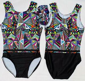 GeoAztec Girls Gymnastics leotard - All Lycra