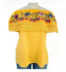 Mexican Embroidered Floral Peasant Women's Top Assorted Sizes& Colors S-XL