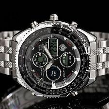 INFANTRY Mens Digital Quartz Wrist Watch Sport Army Chronograph Stainless Steel