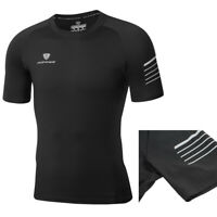 Mens Quick Dry Gym T-Shirts Short Sleeve Athletic Running Top Lightweight Black