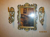 5 PC Vintage Home Interiors Homco  Gold  Mirrors - Hollywood Regency