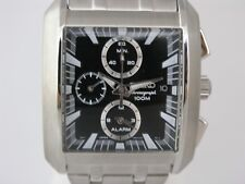 Seiko Mens watches silver tone bracelet and black dial stainless steel SNA769P1