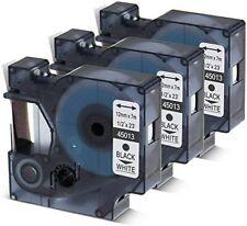 More details for 3pcs for dymo d1 black on white s0720530 label tape cassette 45013 1/2