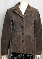 Wilsons Leather Womens Brown Suede Leather Button up Belted Jacket Coat Sz Small