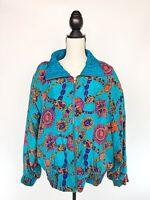 Vtg LAVON Womens 100% Silk Bomber Windbreaker Jacket Blue Gemstone Urban Sz L