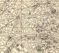 1923 Antique PARIS City Map Street Map of Paris France Gallery Wall Art 8206
