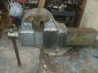 "Vintage Columbian No.505 Bench Vise 60lb. 5"" Jaws 20"" Long Mechanics Tools"