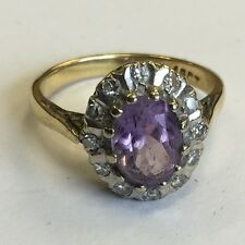 Vintage Solid 18ct Gold Amethyst And Diamond Dress Ring Size J1/2