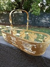 Vintage Rusty Metal Handled Garden Basket With GRAPE LEAVES Wood Slats Base