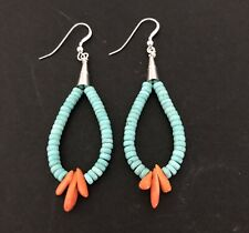 Santo Domingo Turquoise Rondelle Jacla Hoop Sterling Earrings
