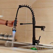 LED Light Oil Rubbed Pull Down Spring Kitchen Sink Faucet Swivel Spout Mixer Tap
