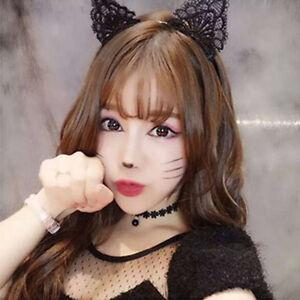 Black Fancy Dress Costume Wired Lace Cat Ears Headband Festival Hen Night Kitty