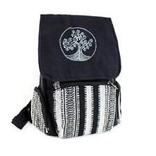 Black Cotton Tree of Life Backpack with Tribal Woven Design School Book Bag