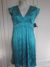 NWT Woman's Magazine Teal Belted Crinkle Silk V Neck Dress Small