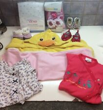 Baby Girl Lot Of 9-Sleepers,Blankets, Shoes,Hooded Towel,crib Sheets-Sz 3 Months