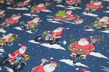 RETRO CHRISTMAS Santa on Motorcycles Fabric FAT QUARTER 18