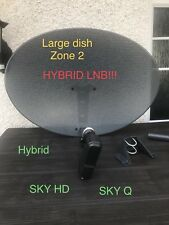 SKY LARGE SATELLITE DISH ZONE 2 78cmWITH HYBRID LNB! 6way 2xQ 4x Quad Sky Q & HD