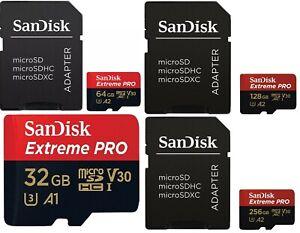 SANDISK 32GB 64GB 128GB 256GB MICRO SD SDHC SDXC EXTREME PRO V30 A2 170MBs 4K HD
