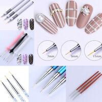 3Pcs UV Gel Liner Nail Art Brush Set 7mm 9mm 11mm Painting Pen Manicure Tools