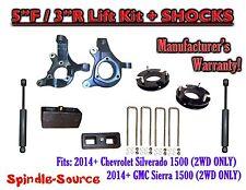 "2014+  Chevrolet Silverado GMC Sierra 1500  5"" / 3"" Spindle LIFT KIT + SHOCKS"